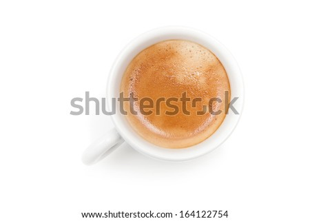 Small espresso coffee cup. Top view isolated on white background - stock photo