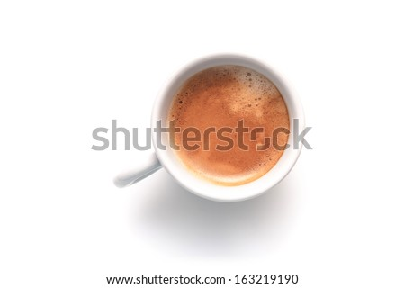 Small espresso cup. Top view isolated on white background - stock photo