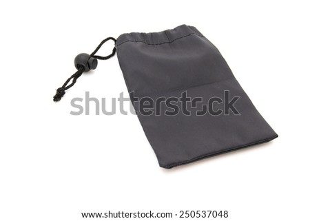 Small fabric bags black isolated on white