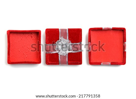 Small Fancy Velvet Box Including Lid And Open Box Versions - stock photo