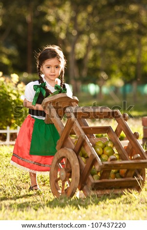 small farm girl, dressed in traditional Germanic life style
