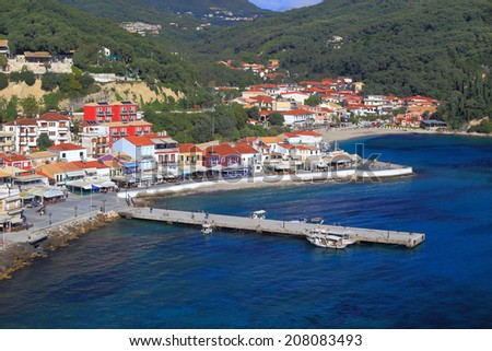 Small fisherman town and harbor on the Ioanian sea shore, Greece