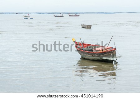 Small fishing boat at seaside of Bangpra, Chonburi province,thailand