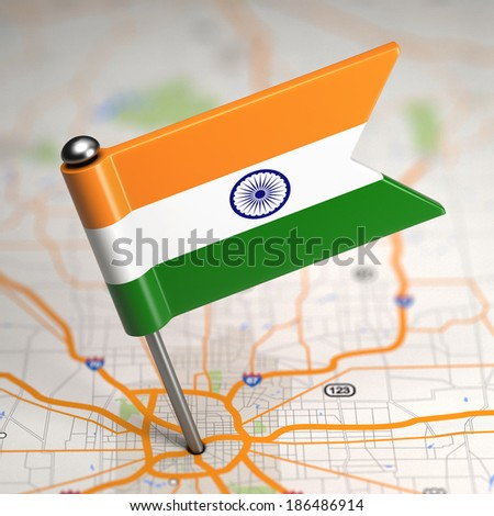 Small Flag of Republic of India on a Map Background with Selective Focus. - stock photo