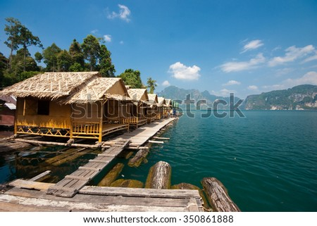 Small floating huts in dam