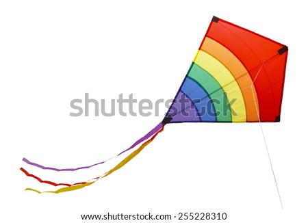 Small Flying Rainbow Kite Isolated on a White Background. - stock photo