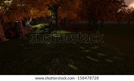 small forest path made in 3d software - stock photo