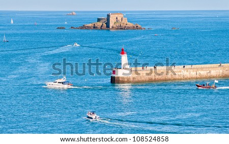 Small fort on rocky island in roadstead of St Malo, Brittany, France - stock photo