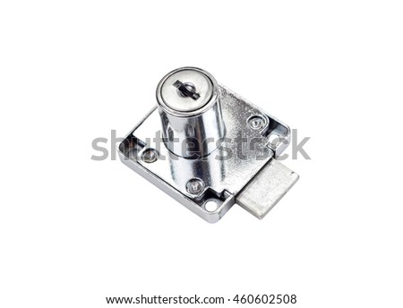 Small furniture lock, isolated on white background
