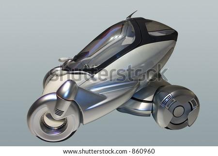 Small,futuristic and elegant car. Plus clipping path. - stock photo