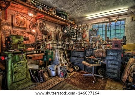 small garage workshop equipment - stock photo