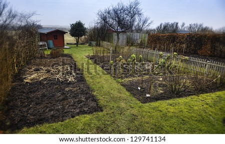 Small garden allotment. Traditional and very Danish. - stock photo