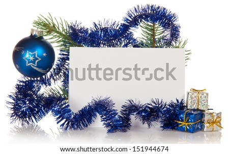 Small gift boxes and the decorated fir-tree branch, empty card isolated on white