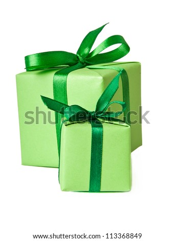 small gifts with green ribbon on a white background