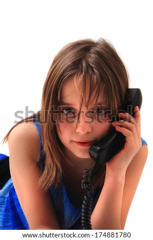 small girl and phone - stock photo