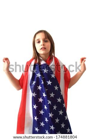 small girl and USA flag - stock photo