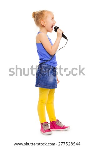 Small girl in colorful clothes singing alone - stock photo