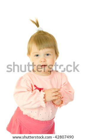 Small girl in red dress isolated