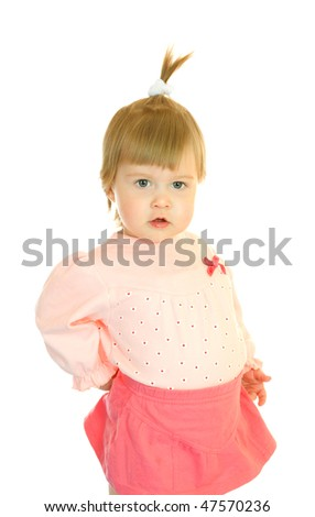 Small girl in red dress isolated on white