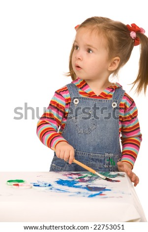 small girl paint on a white background