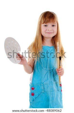Small girl with brushes and palette on white background
