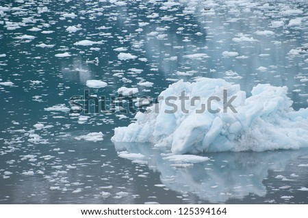Small glacier in the cold waters of College Fjord, Alaska - stock photo