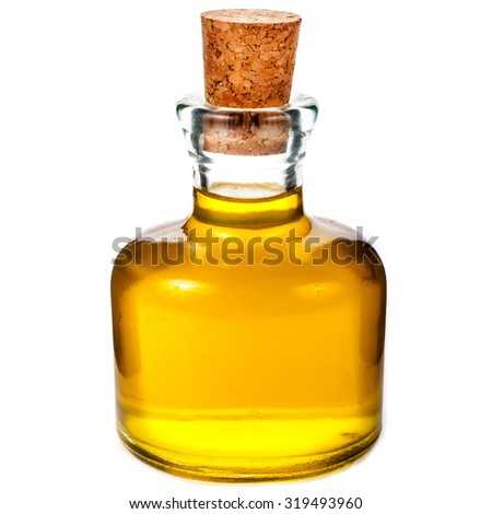 small glass bottle with olive oil  isolated on white background - stock photo