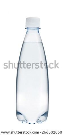 Small glass water bottle - stock photo
