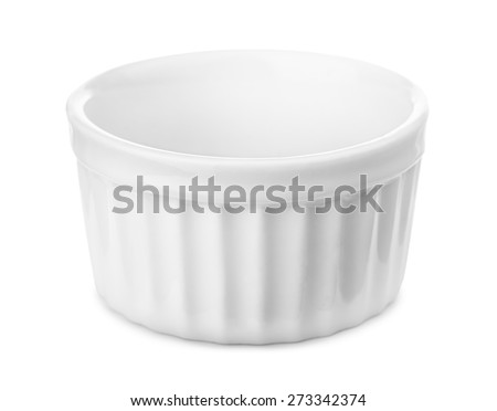 Small glazed ceramic ramekin isolated on white - stock photo