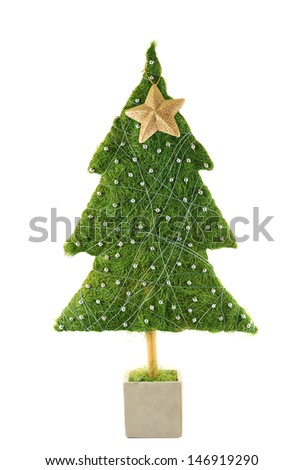 Small green Christmas tree with a golden star decoration isolated over white background - stock photo