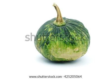 Small green pumpkin on white background. object side view.