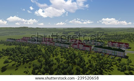 Small green town from above. Lovely cityscape for comfortable living. 3d rendering. - stock photo