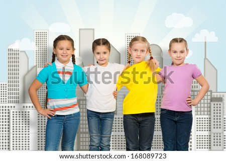 small group of girls hugged each other by the shoulders and stand in a row