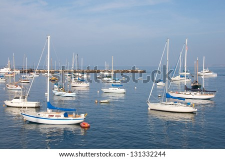 Small group of sail boats in a marina - stock photo