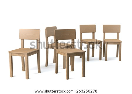 Small group of wooden chairs on white background, 3d rendering - stock photo