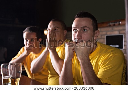 Small Group Of Worried Friends Watching Their Favorite Team At The Bar - stock photo