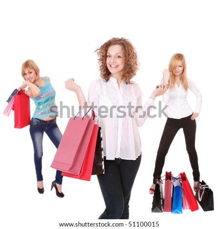 small group shopping girls. Isolated over white background