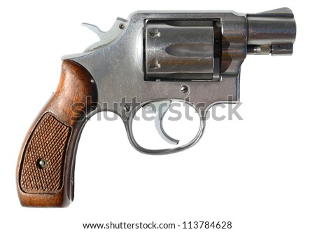 Small gun isolated on white - stock photo