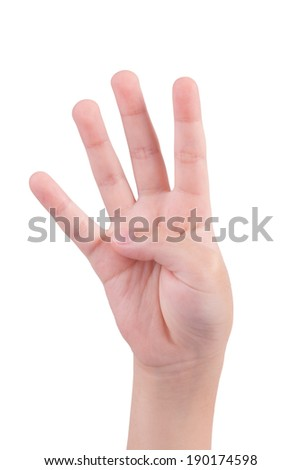 small hand simulating showing number four sign. Isolated on white Background - stock photo