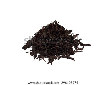 Small handful of the black tea isolated on white background (enough tea for one brew) - stock photo