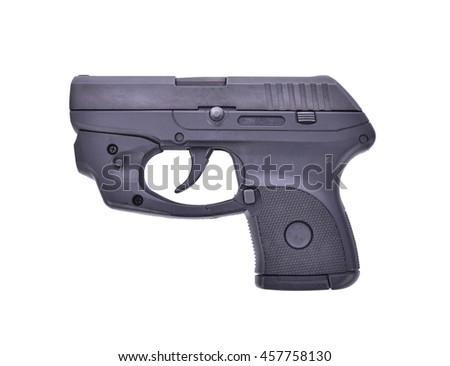 Small Handgun with laser guns on white background. - stock photo