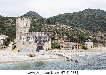Small harbor of Zographou Monastery (arsana) in Holy Mount of Athos, Greece