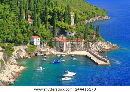 Small harbor surrounded by vivid vegetation near the Adriatic sea, Trsteno, Croatia - stock photo