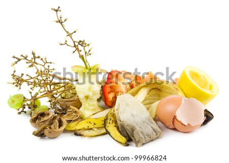 Small heap of compost on white - stock photo