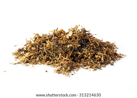 small heap of loose tobacco, a portion for a pipe, cigar, or hand-rolled cigarette,  isolated on a white background - stock photo