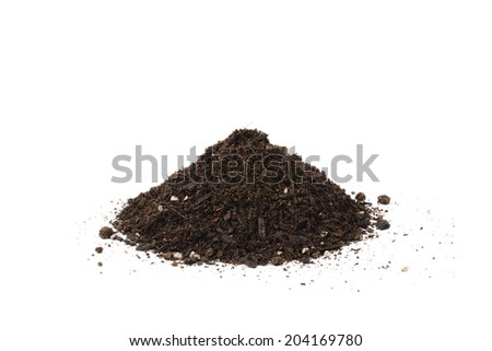small heap of soil for repotting, isolated on white background - stock photo