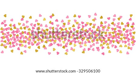 Small Hearts Pink And Gold Confetti Border Illustration Bright Sparkle Design Element For Tags