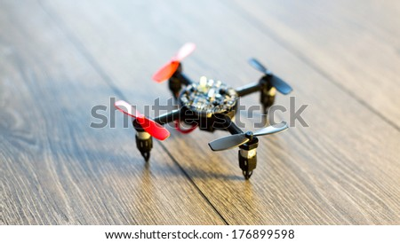 small helicopter toy quadrocopter - stock photo