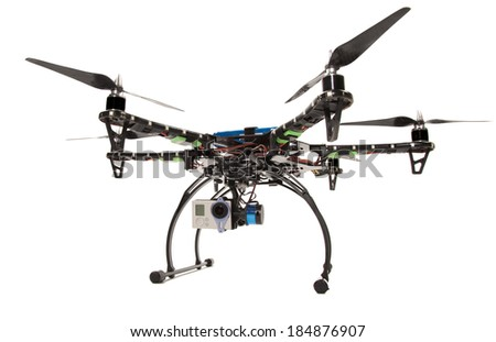 Small hexacopter with camera at studio