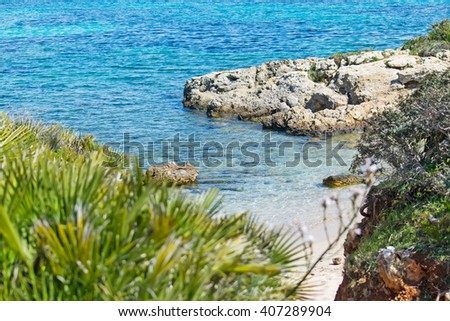 small hidden cove in Alghero, Sardinia - stock photo